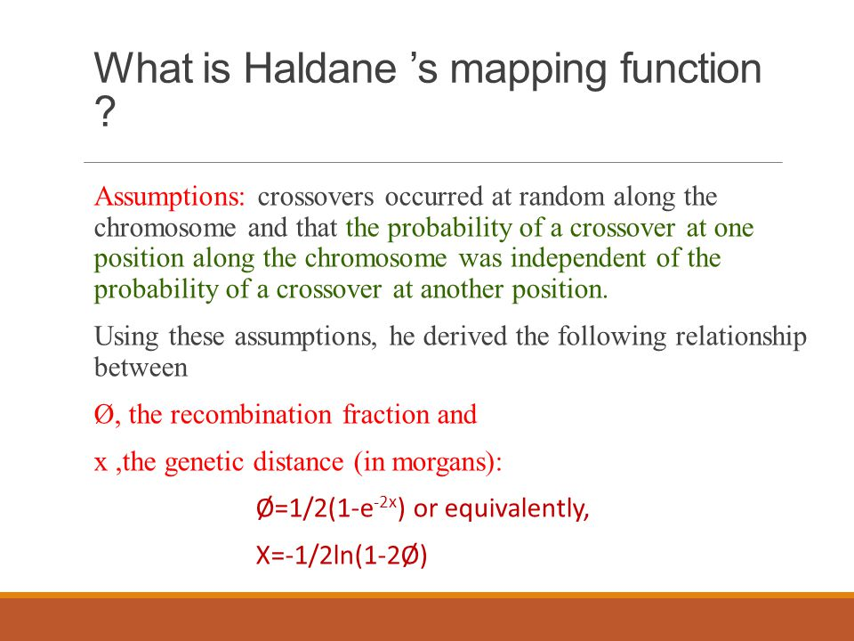 What is Haldane 's mapping function .