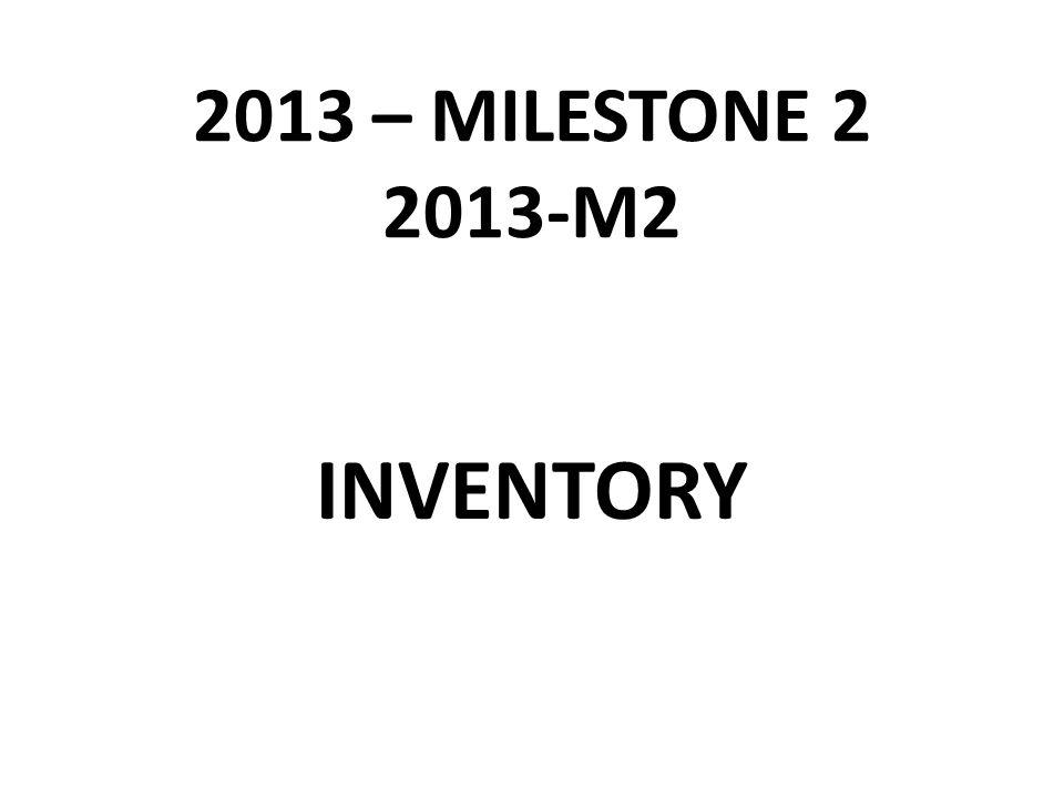 2013 – MILESTONE 2 2013-M2 INVENTORY