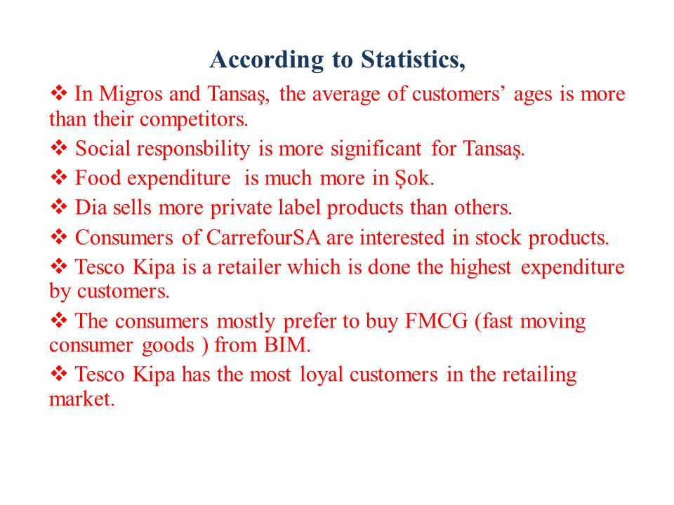 According to Statistics,  In Migros and Tansaş, the average of customers' ages is more than their competitors.