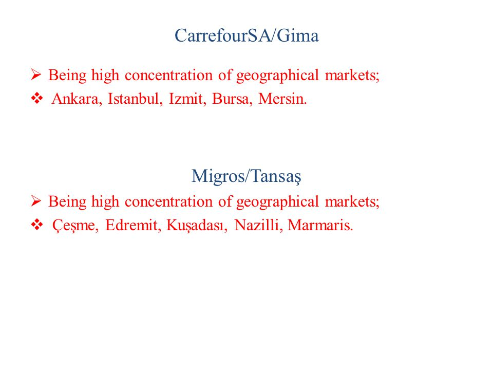 CarrefourSA/Gima  Being high concentration of geographical markets;  Ankara, Istanbul, Izmit, Bursa, Mersin. Migros/Tansaş  Being high concentratio