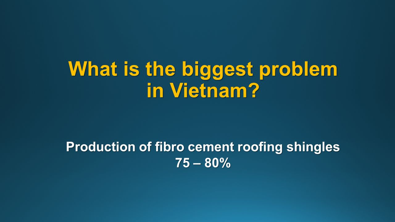 What is the biggest problem in Vietnam? Production of fibro cement roofing shingles 75 – 80%