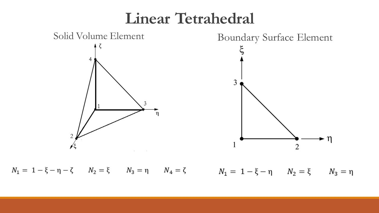 Linear Tetrahedral Boundary Surface Element Solid Volume Element