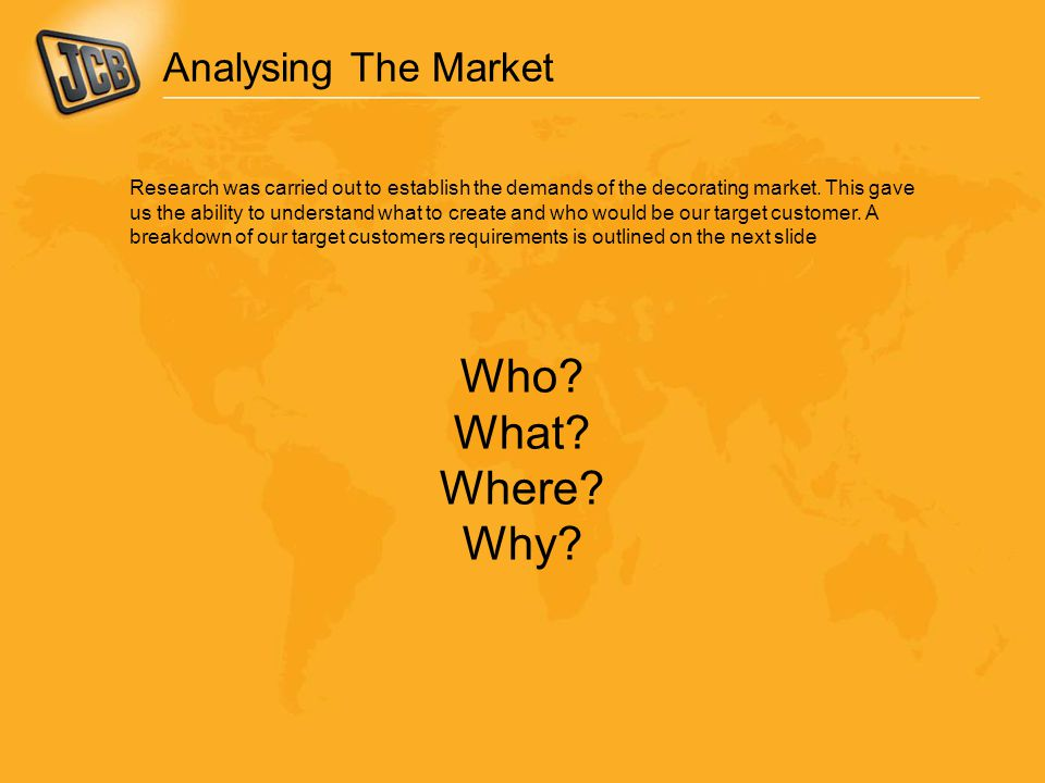 Analysing The Market Research was carried out to establish the demands of the decorating market.