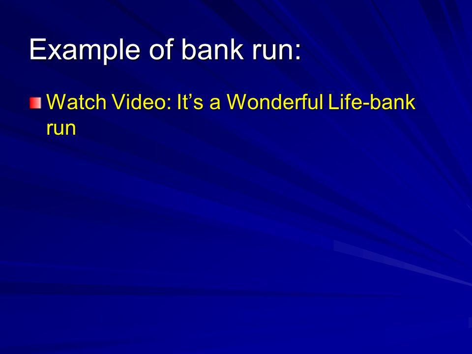 Example of bank run: Watch Video: It's a Wonderful Life-bank run