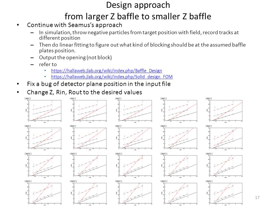 Design approach from larger Z baffle to smaller Z baffle Continue with Seamus's approach – In simulation, throw negative particles from target position with field, record tracks at different position – Then do linear fitting to figure out what kind of blocking should be at the assumed baffle plates position.