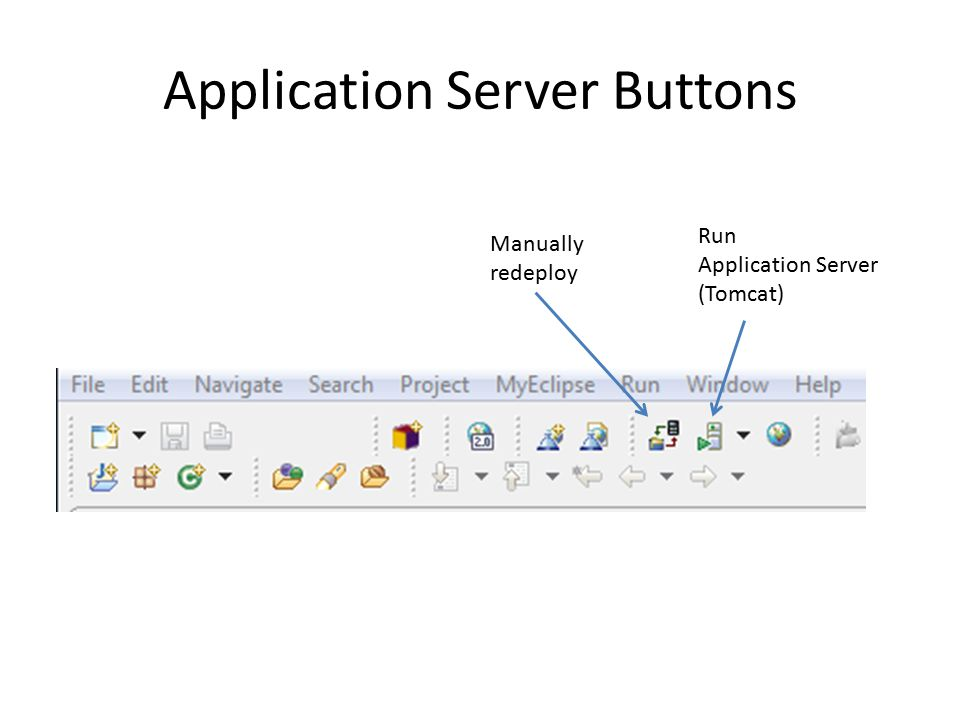 Application Server Buttons Manually redeploy Run Application Server (Tomcat)