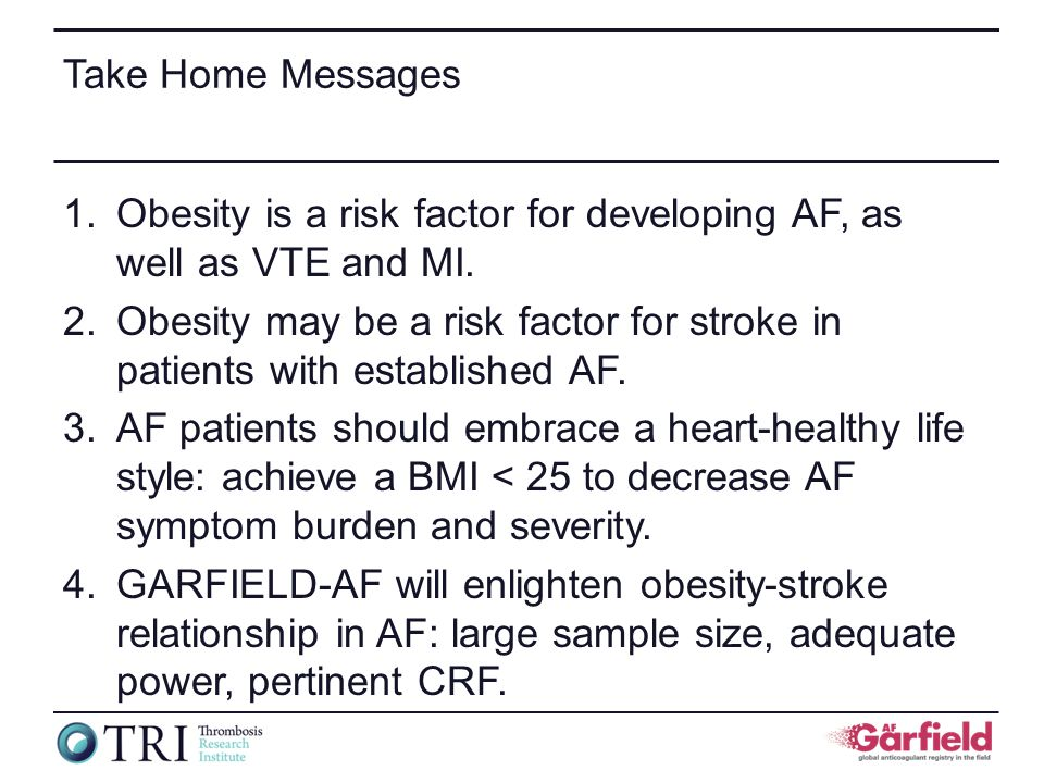 Take Home Messages 1.Obesity is a risk factor for developing AF, as well as VTE and MI.