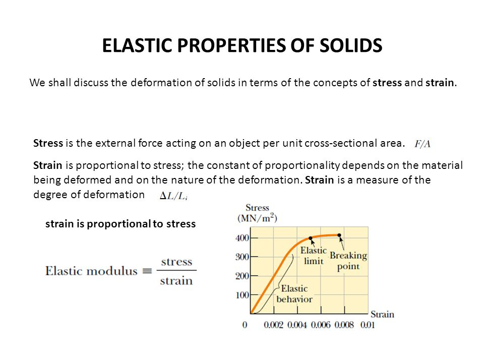 ELASTIC PROPERTIES OF SOLIDS We shall discuss the deformation of solids in terms of the concepts of stress and strain. Stress is the external force ac