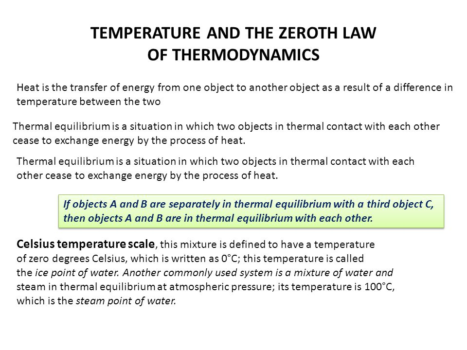TEMPERATURE AND THE ZEROTH LAW OF THERMODYNAMICS Heat is the transfer of energy from one object to another object as a result of a difference in tempe