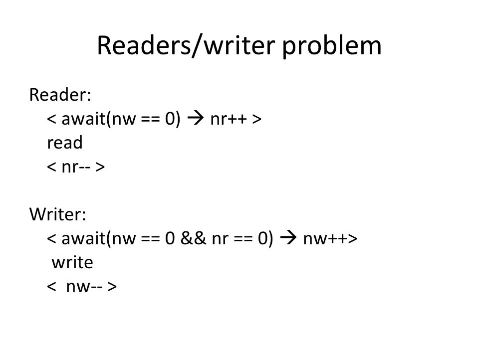 Readers/writer problem Reader: read Writer: write