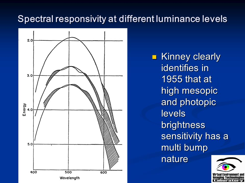 Spectral responsivity at different luminance levels Kinney clearly identifies in 1955 that at high mesopic and photopic levels brightness sensitivity