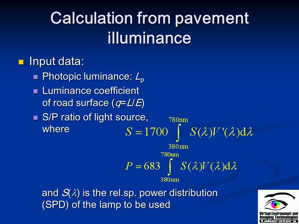 Calculation from pavement illuminance Input data: Input data: Photopic luminance: L p Photopic luminance: L p Luminance coefficient of road surface (q