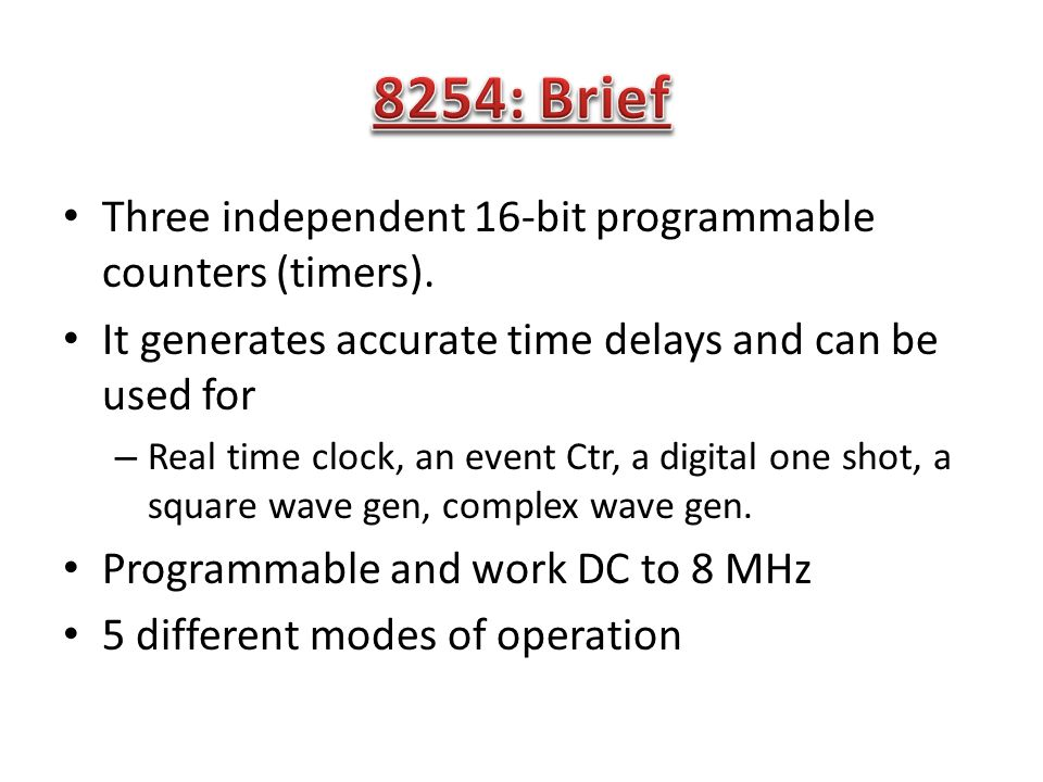 The 8254 Programmable Interval-timer is used by the PC system for (1) generating timer-tick interrupts (rate is 18.2 per sec), (2) performing dynamic memory-refresh (reads ram once every 15 microseconds), and (3) generates 'beeps' of PC speaker When the speaker-function isn't needed, the 8254 is available for other purposes