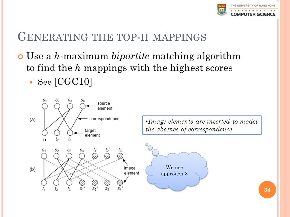 G ENERATING THE TOP - H MAPPINGS Use a h -maximum bipartite matching algorithm to find the h mappings with the highest scores See [CGC10] 34 Image elements are inserted to model the absence of correspondence We use approach 3