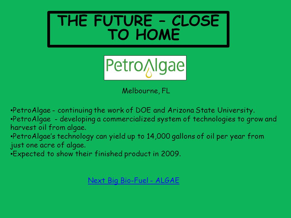 THE FUTURE – CLOSE TO HOME PetroAlgae - continuing the work of DOE and Arizona State University.