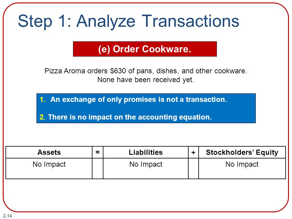 2-14 Step 1: Analyze Transactions (e) Order Cookware. 1.An exchange of only promises is not a transaction. 2. There is no impact on the accounting equ