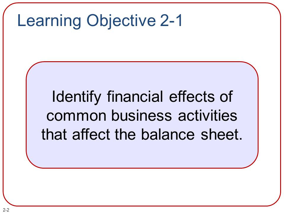 2-3 Building a Balance Sheet Assets amounts presently owed by a business to creditors.