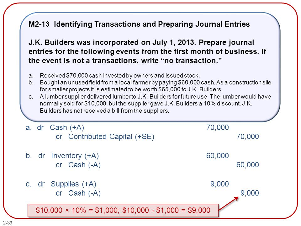2-39 M2-13 Identifying Transactions and Preparing Journal Entries J.K. Builders was incorporated on July 1, 2013. Prepare journal entries for the foll