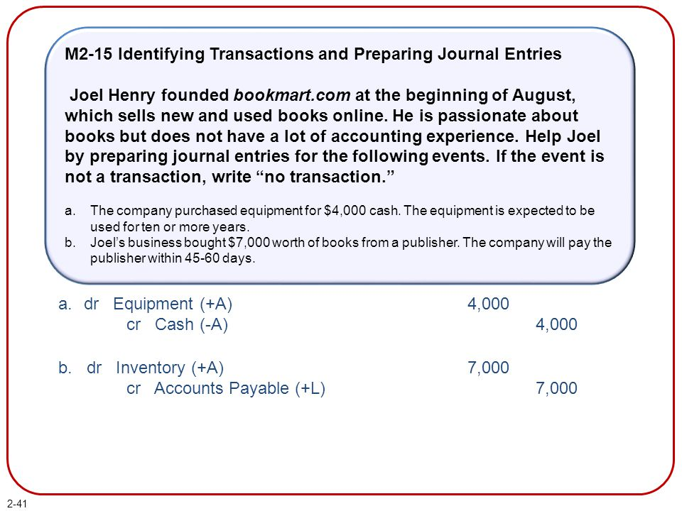 2-41 M2-15 Identifying Transactions and Preparing Journal Entries Joel Henry founded bookmart.com at the beginning of August, which sells new and used books online.