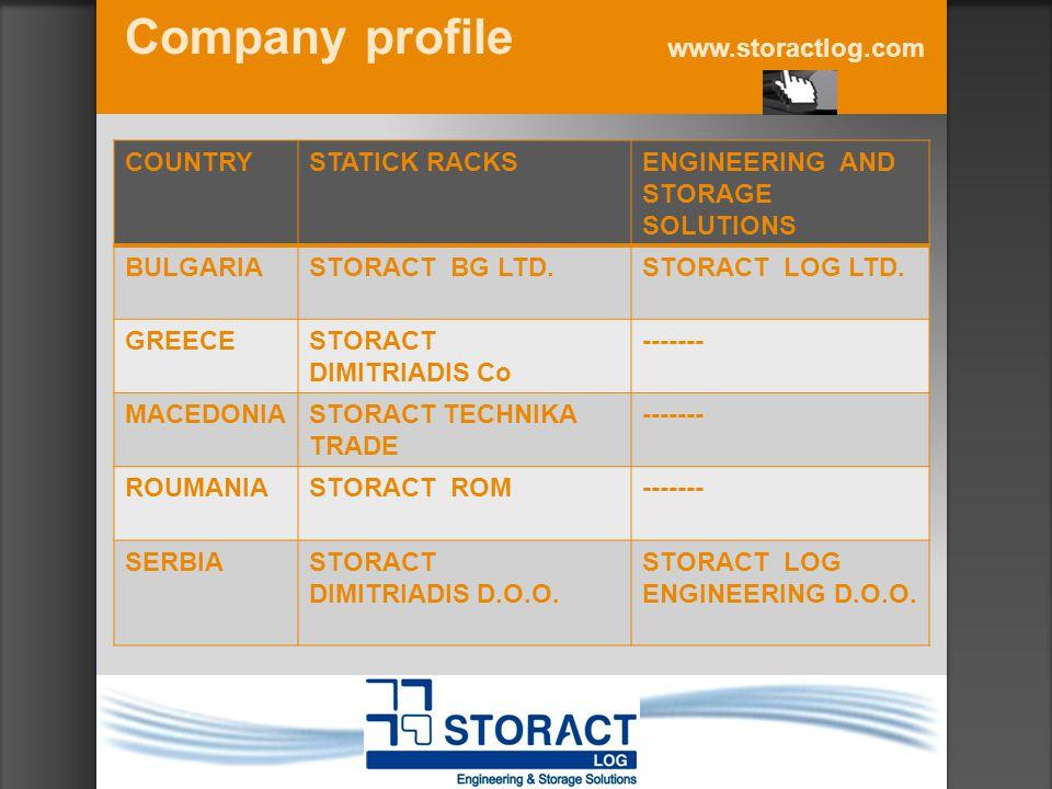 Company profile www.storactlog.com COUNTRYSTATICK RACKSENGINEERING AND STORAGE SOLUTIONS BULGARIASTORACT BG LTD.STORACT LOG LTD. GREECESTORACT DIMITRI