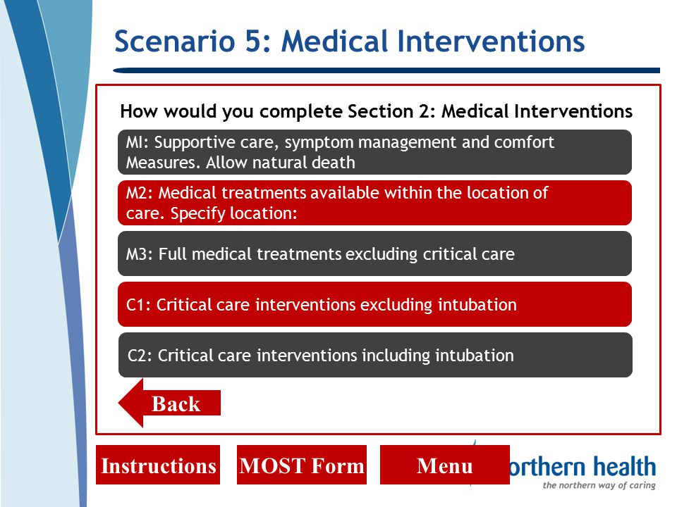 Scenario 5: Medical Interventions InstructionsMOST FormMenu How would you complete Section 2: Medical Interventions Back MI: Supportive care, symptom management and comfort Measures.