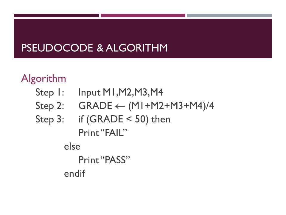 PSEUDOCODE & ALGORITHM Algorithm Step 1: Input M1,M2,M3,M4 Step 2: GRADE  (M1+M2+M3+M4)/4 Step 3: if (GRADE < 50) then Print FAIL else Print PASS endif
