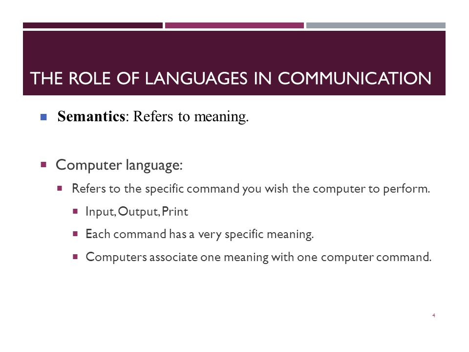 THE ROLE OF LANGUAGES IN COMMUNICATION  Computer language:  Refers to the specific command you wish the computer to perform.