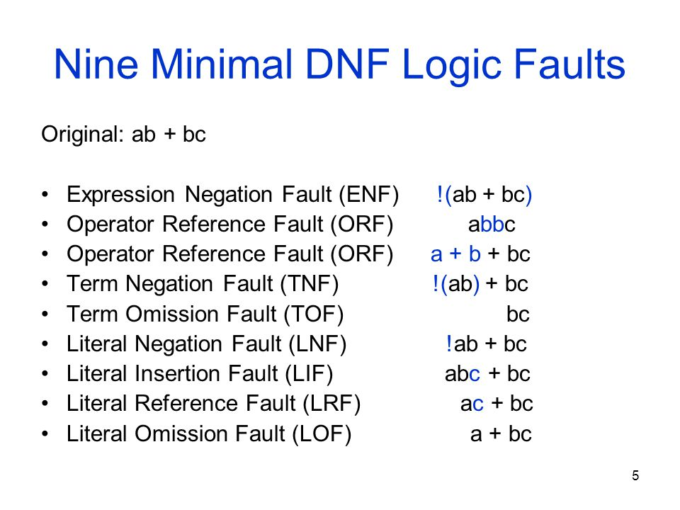 5 Nine Minimal DNF Logic Faults Original: ab + bc Expression Negation Fault (ENF) !(ab + bc) Operator Reference Fault (ORF) abbc Operator Reference Fault (ORF) a + b + bc Term Negation Fault (TNF) !(ab) + bc Term Omission Fault (TOF) bc Literal Negation Fault (LNF) !ab + bc Literal Insertion Fault (LIF) abc + bc Literal Reference Fault (LRF) ac + bc Literal Omission Fault (LOF) a + bc