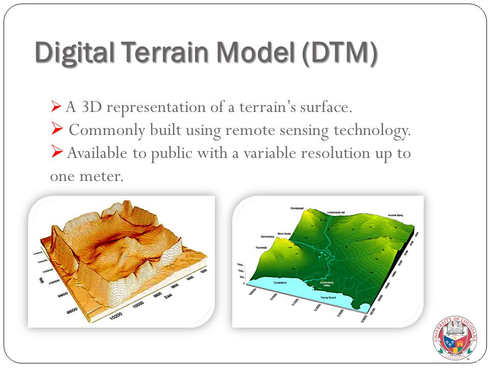 Digital Terrain Model (DTM)  A 3D representation of a terrain's surface.