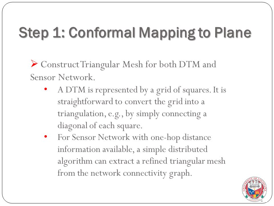 Step 1: Conformal Mapping to Plane  Construct Triangular Mesh for both DTM and Sensor Network. A DTM is represented by a grid of squares. It is strai