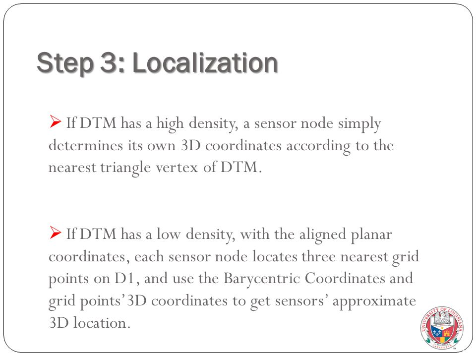 Step 3: Localization  If DTM has a high density, a sensor node simply determines its own 3D coordinates according to the nearest triangle vertex of DTM.