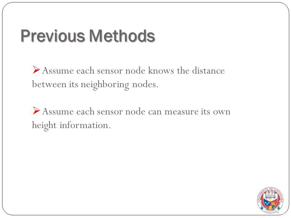 Previous Methods  Assume each sensor node knows the distance between its neighboring nodes.