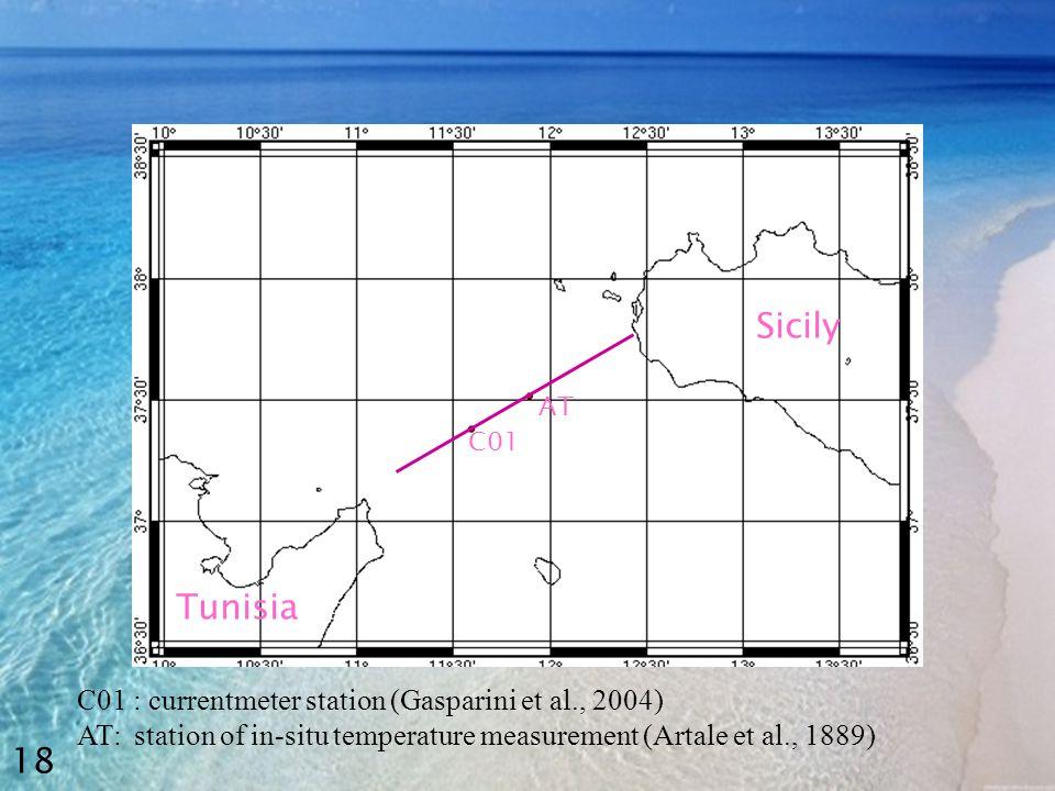 C01 AT Tunisia Sicily C01 : currentmeter station (Gasparini et al., 2004) AT: station of in-situ temperature measurement (Artale et al., 1889) 18