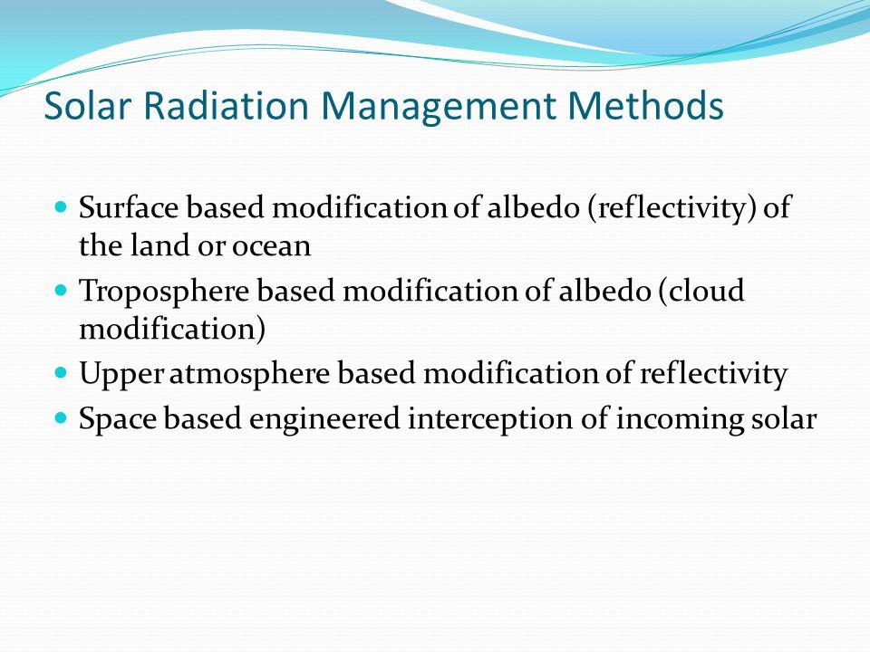 Solar Radiation Management Methods Surface based modification of albedo (reflectivity) of the land or ocean Troposphere based modification of albedo (