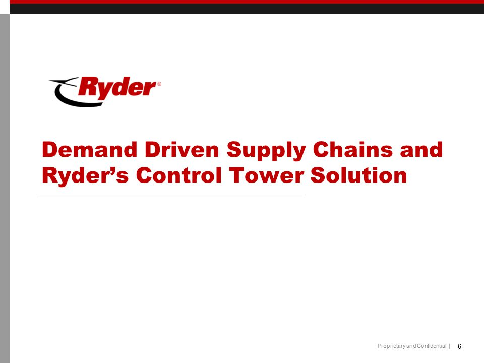 Proprietary and Confidential | Demand Driven Supply Chains and Ryder's Control Tower Solution 6