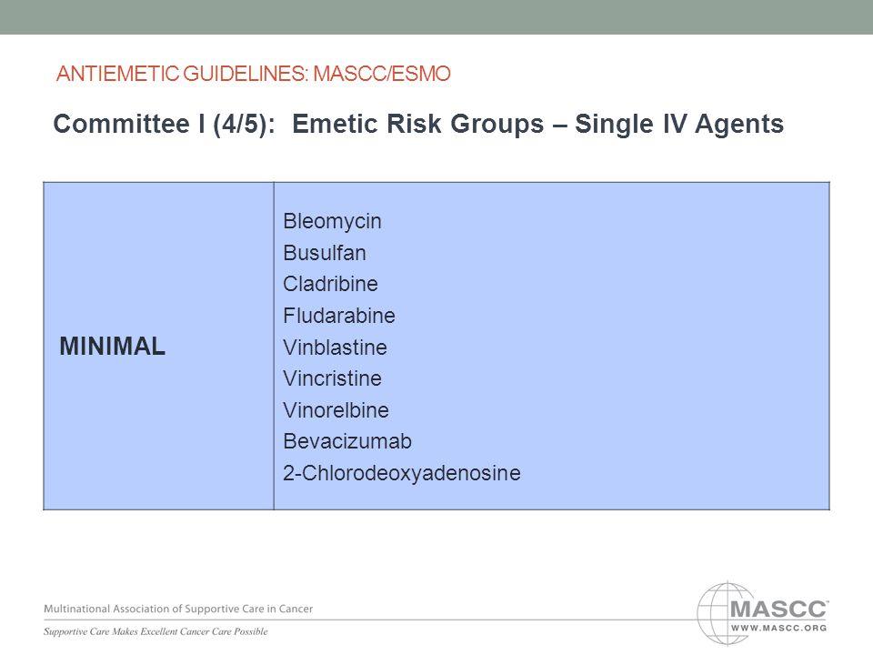 MINIMAL Bleomycin Busulfan Cladribine Fludarabine Vinblastine Vincristine Vinorelbine Bevacizumab 2-Chlorodeoxyadenosine ANTIEMETIC GUIDELINES: MASCC/ESMO Committee I (4/5): Emetic Risk Groups – Single IV Agents