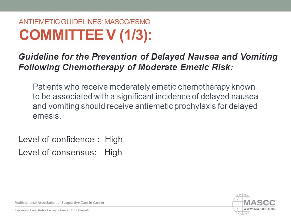 Guideline for the Prevention of Delayed Nausea and Vomiting Following Chemotherapy of Moderate Emetic Risk: Patients who receive moderately emetic che