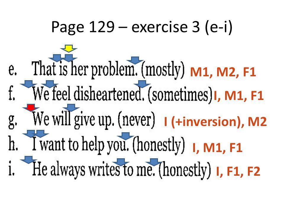 Page 129 – exercise 3 (e-i) M1, M2, F1 I, M1, F1 I (+inversion), M2 I, M1, F1 I, F1, F2