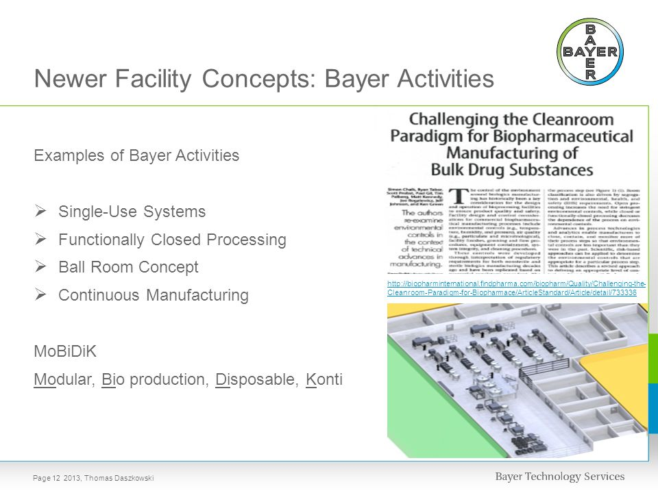 Examples of Bayer Activities  Single-Use Systems  Functionally Closed Processing  Ball Room Concept  Continuous Manufacturing MoBiDiK Modular, Bio