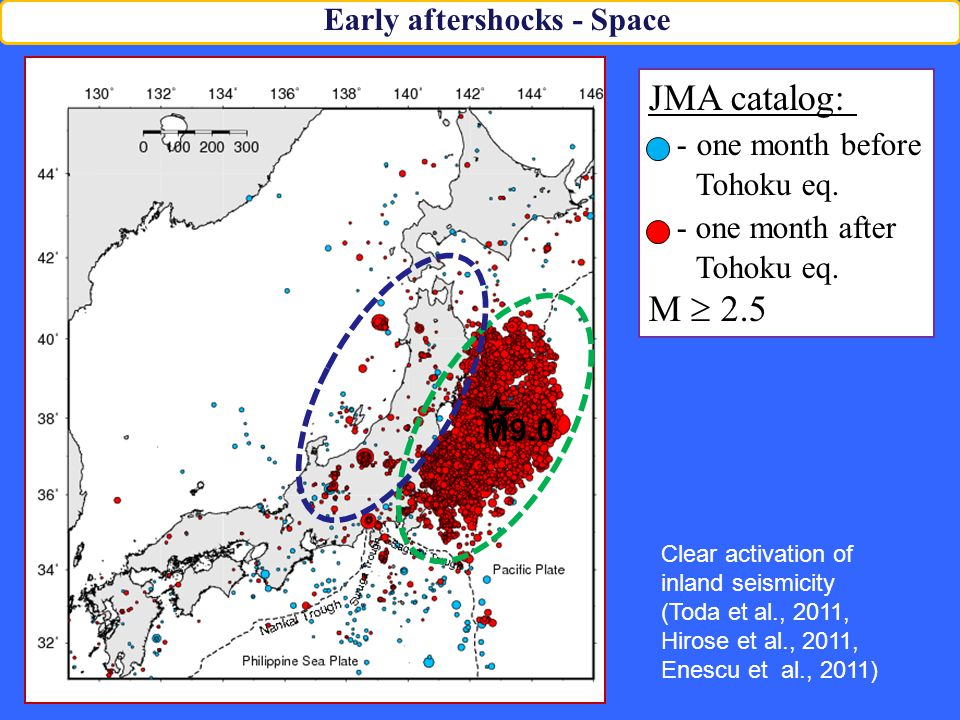JMA catalog: - one month before Tohoku eq. - one month after Tohoku eq.