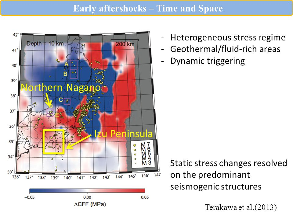 Terakawa et al.(2013) Northern Nagano Early aftershocks – Time and Space Static stress changes resolved on the predominant seismogenic structures -Heterogeneous stress regime -Geothermal/fluid-rich areas -Dynamic triggering Izu Peninsula