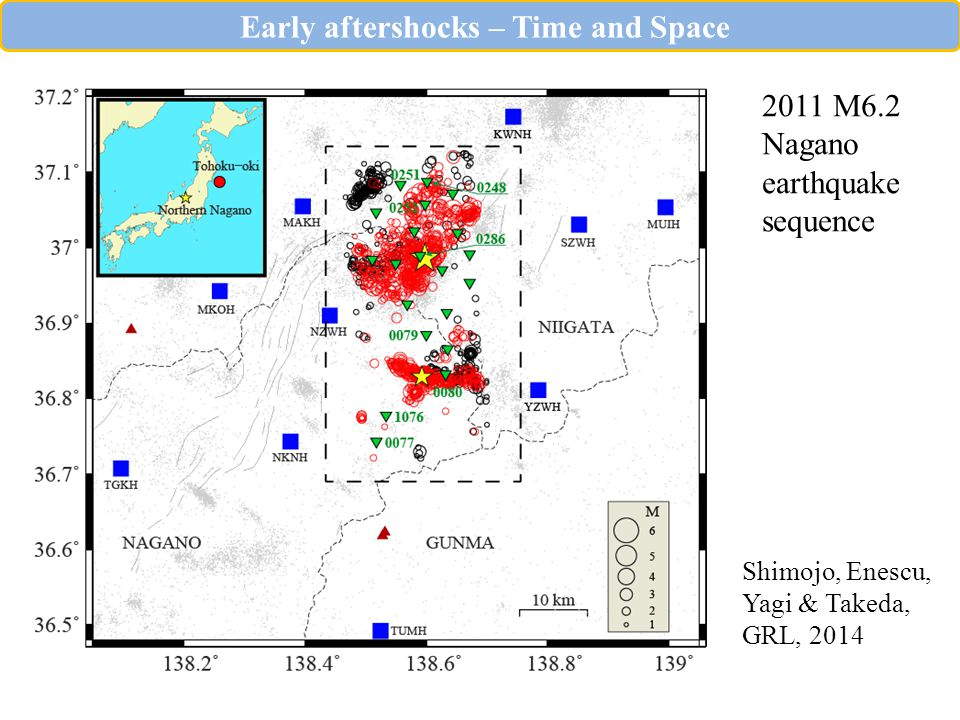 2011 M6.2 Nagano earthquake sequence Shimojo, Enescu, Yagi & Takeda, GRL, 2014 Early aftershocks – Time and Space