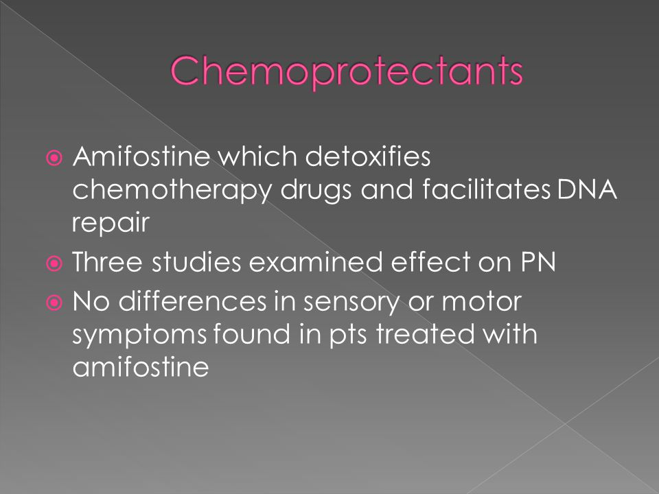  Amifostine which detoxifies chemotherapy drugs and facilitates DNA repair  Three studies examined effect on PN  No differences in sensory or motor symptoms found in pts treated with amifostine