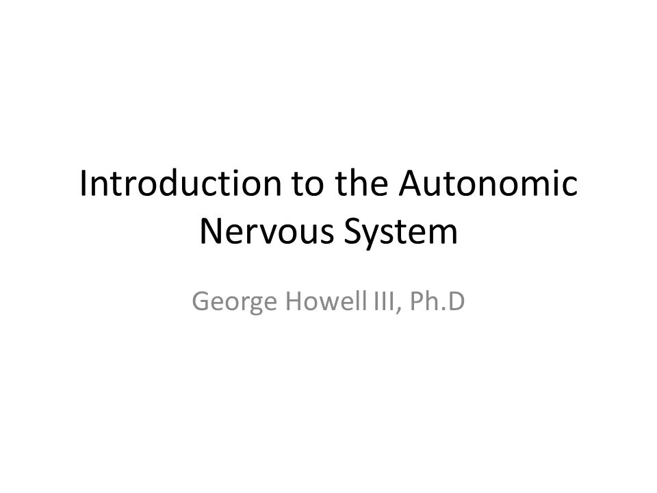 Introduction to the Autonomic Nervous System George Howell III, Ph.D