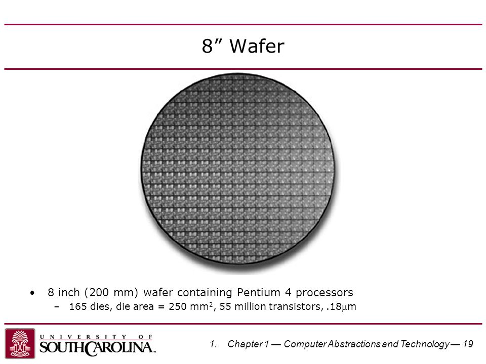 """8"""" Wafer 8 inch (200 mm) wafer containing Pentium 4 processors –165 dies, die area = 250 mm 2, 55 million transistors,.18m 1.Chapter 1 — Computer Abs"""