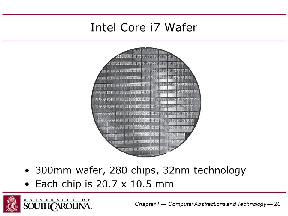 Chapter 1 — Computer Abstractions and Technology — 20 Intel Core i7 Wafer 300mm wafer, 280 chips, 32nm technology Each chip is 20.7 x 10.5 mm