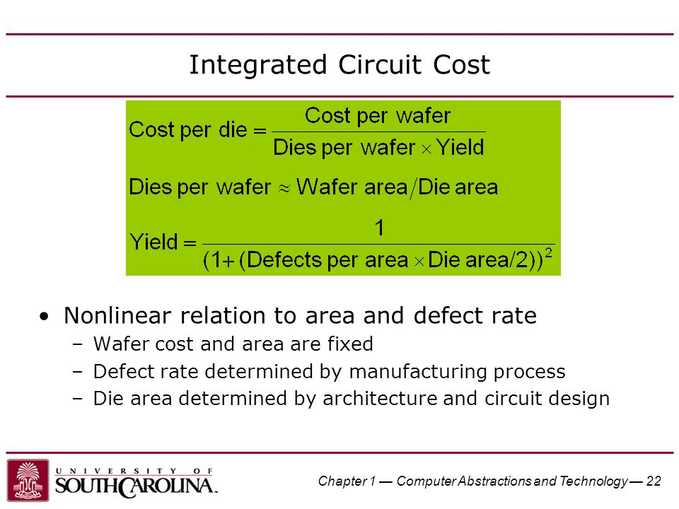 Chapter 1 — Computer Abstractions and Technology — 22 Integrated Circuit Cost Nonlinear relation to area and defect rate –Wafer cost and area are fixe