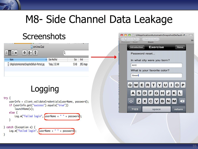 33 M8- Side Channel Data Leakage Logging Screenshots