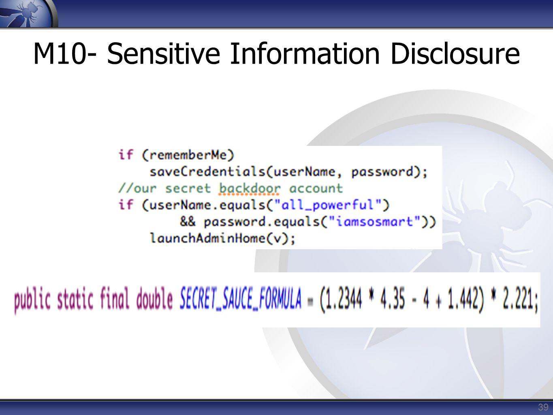 39 M10- Sensitive Information Disclosure