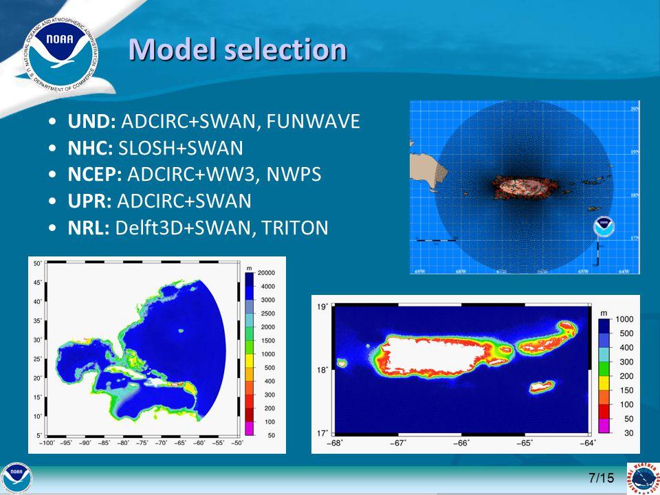 Model selection UND: ADCIRC+SWAN, FUNWAVE NHC: SLOSH+SWAN NCEP: ADCIRC+WW3, NWPS UPR: ADCIRC+SWAN NRL: Delft3D+SWAN, TRITON 7/15